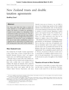New Zealand Trusts and Double Taxation Agreements - an article by Geoffrey Cone at Cone Marshall
